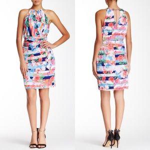 NWT JS floral faux wrap metal halter dress